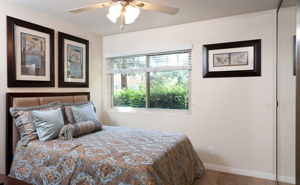 Furnished bedroom with window, ceiling fan, and bed