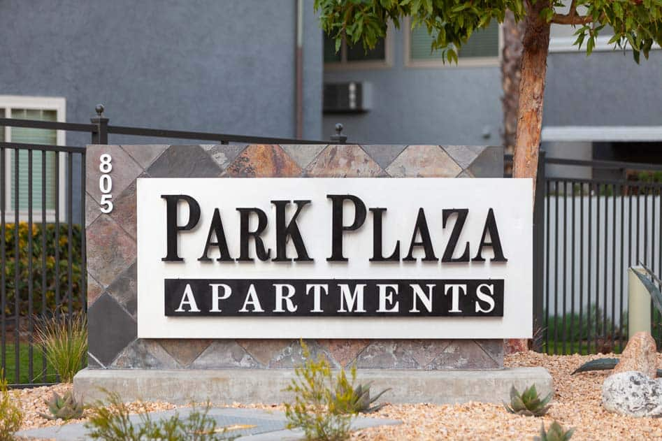 Park Plaza Apartments Sign
