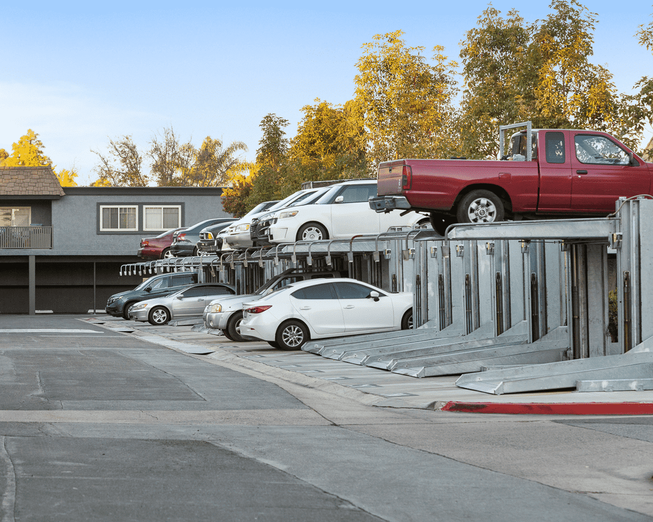 Parking lot with lifts