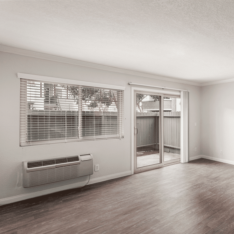 Open wood floor space and sliding door