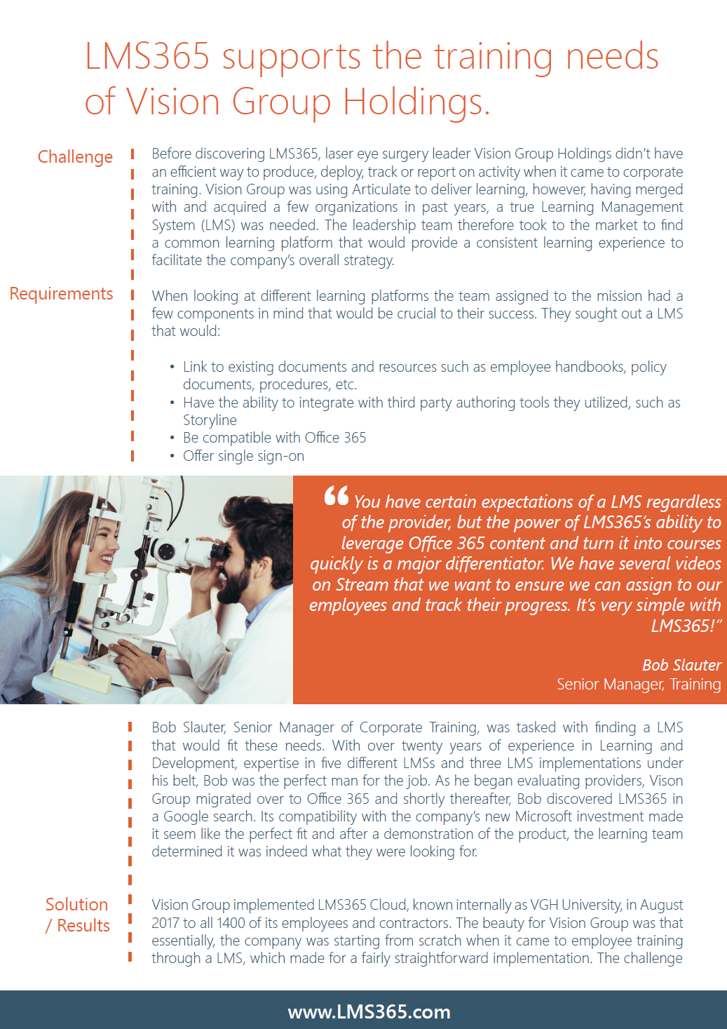 Screen Shot of LMS365 Case Study Featuring Vision Group Holdings
