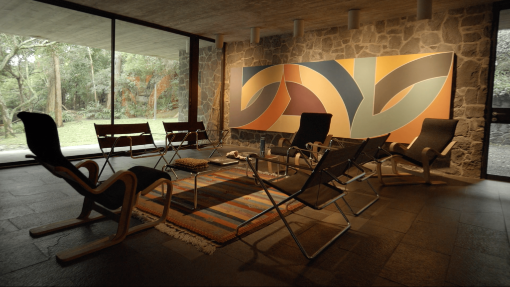 Frank Stella's 'York Factory' (1970) and Marcel Breuer chairs in the Harry and Penelope Seidler House, Killara