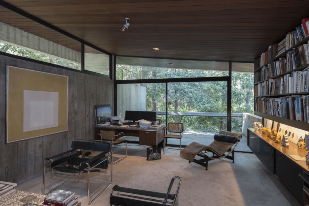 Harry's Seidler's study with Josef Albers' painting 'Homage to the Square: Impartial' (1966), Marcel Breuer chairs and a Le Corbusier recliner