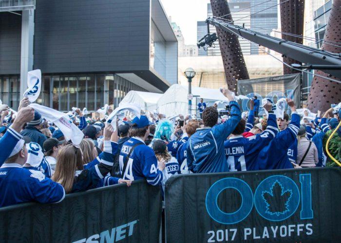 Maple Leaf Square during NHL Playoffs 2017. Footage using Jimmy Jib