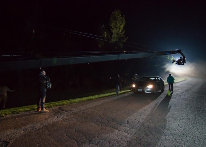 Brendan Schnurr Shooting Surviving Evil on Jimmy Jib