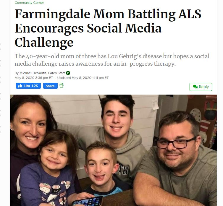 You are currently viewing 40-year-old mom of three has Lou Gehrig's disease but hopes a social media challenge raises awareness for an in-progress therapy