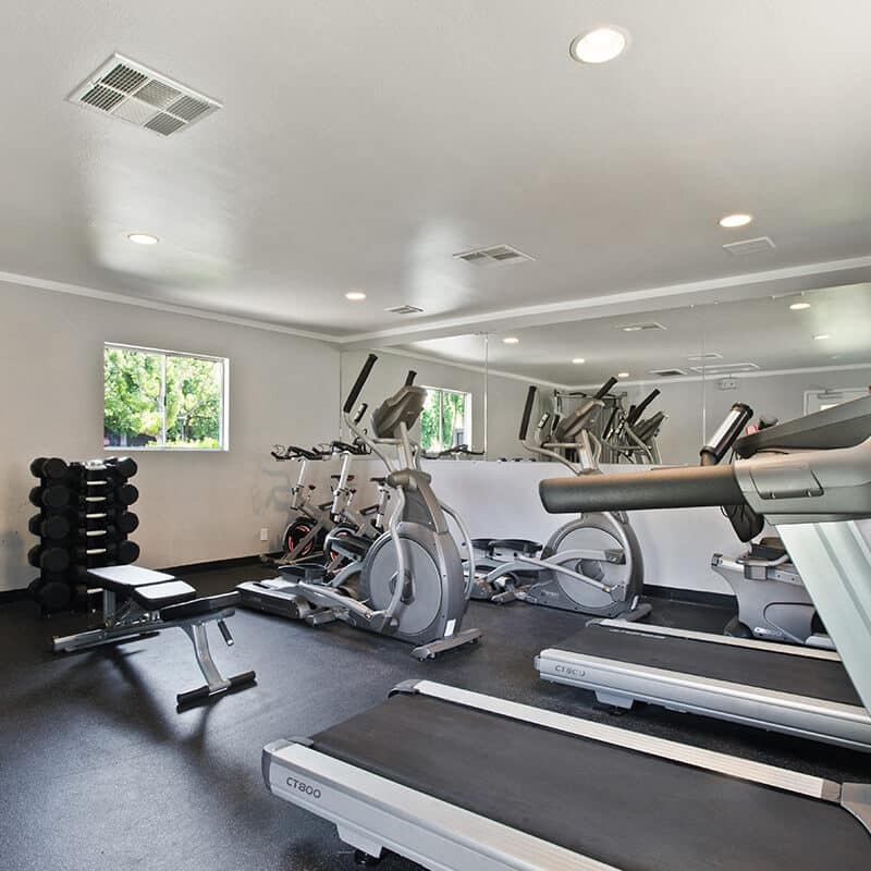 Fitness center with treadmills and cycles