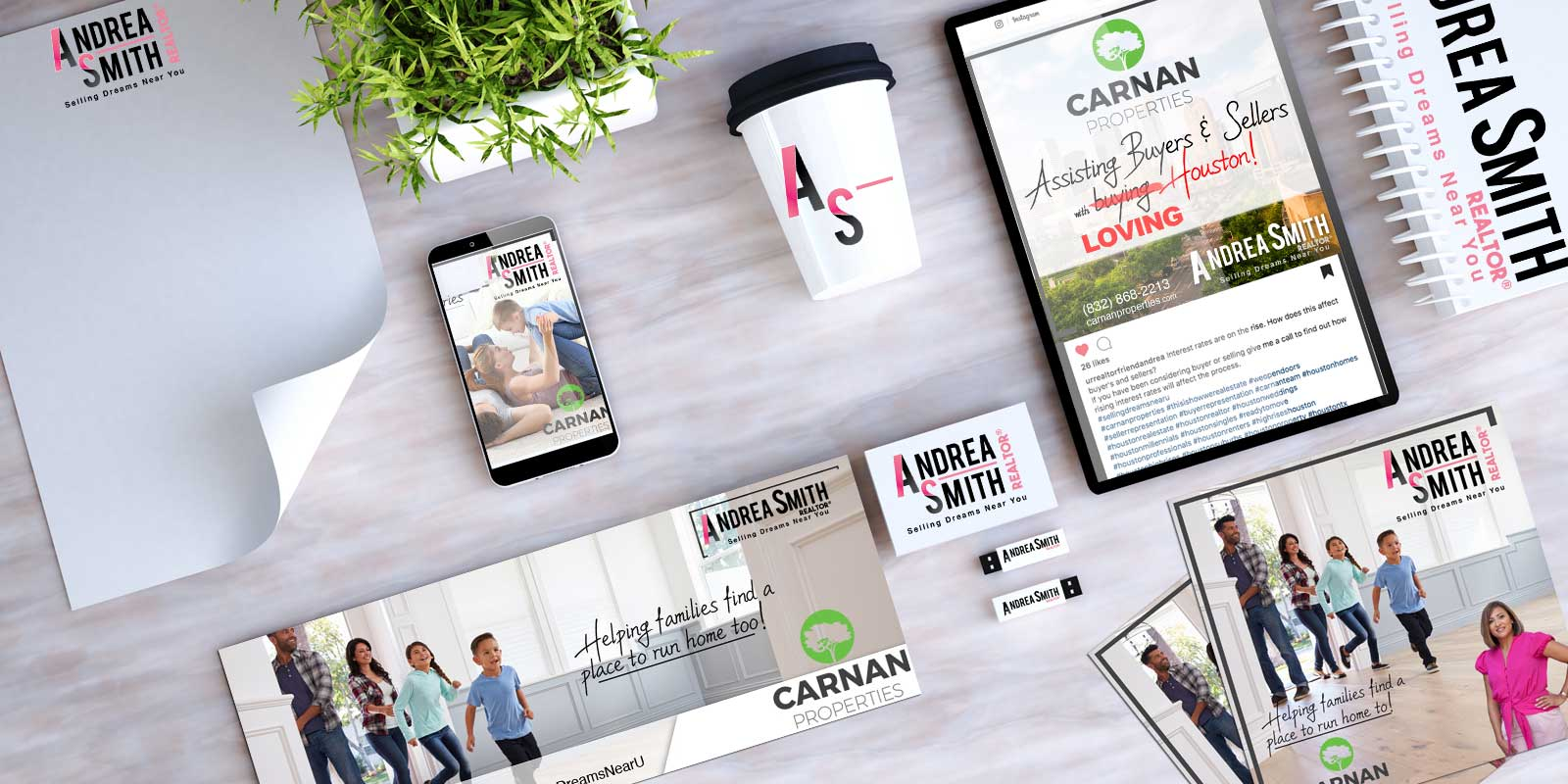 Real Estate Branding and Marketing Piece for Carnan Properties Andrea Smith Houston Texas