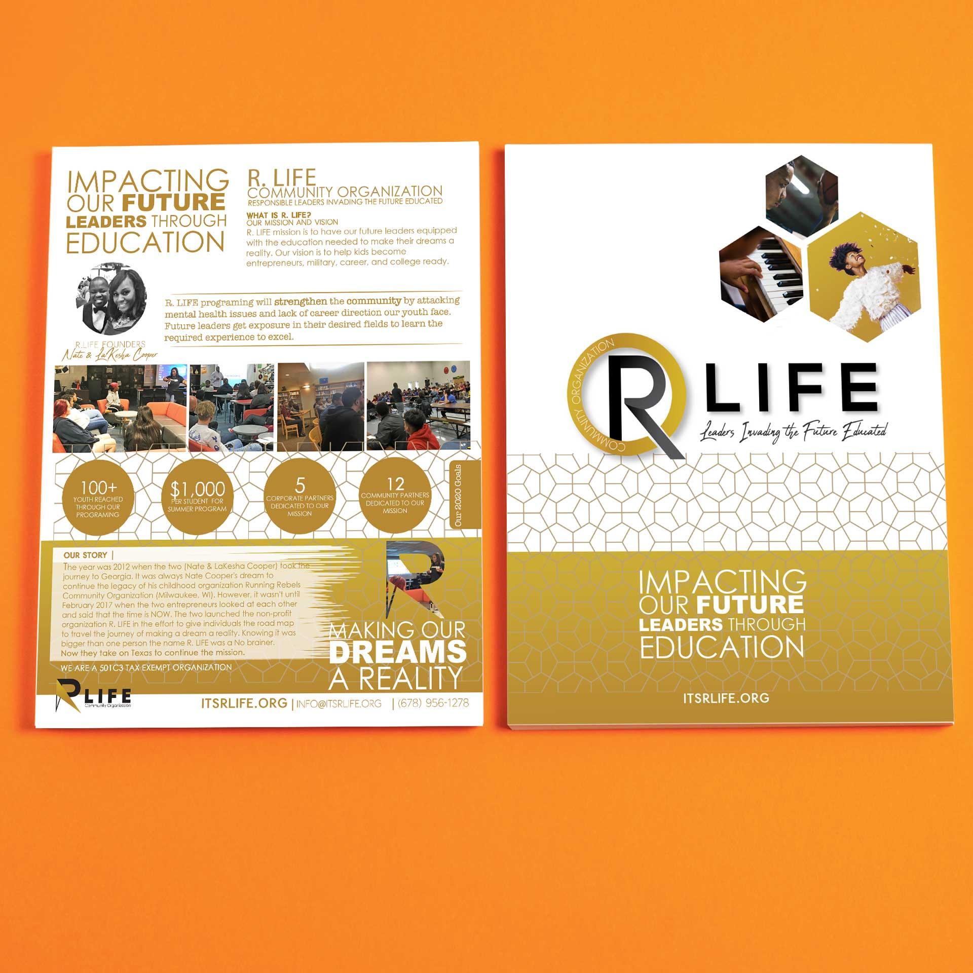 R LIFE Community Organization Non Profit One Pager Design