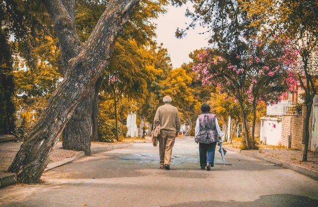 Elderly couple walking.