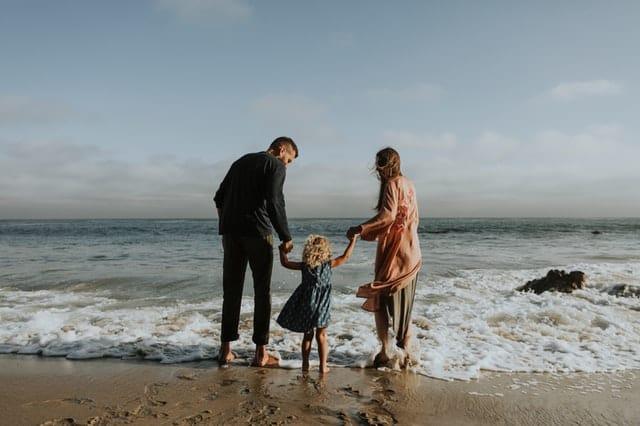 Cheerful family beach