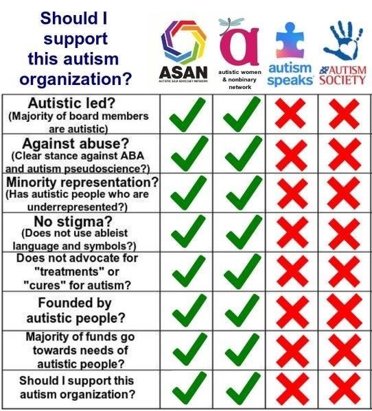 Infographic of Autism Organizations, including autistic self-advocacy network and Autstic Women and nonbinary network.