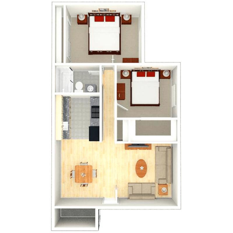 2 bed 1 bath apartment floor plan