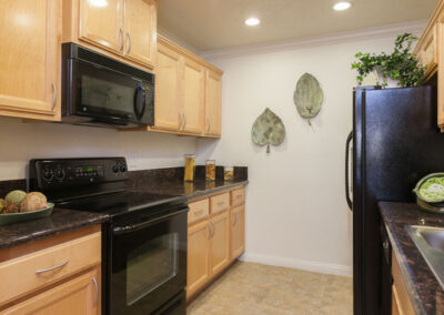 kitchen with dark countertops and light cabinets