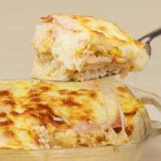 Arroz de forno com frango, queijo e presunto
