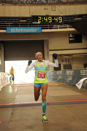 Shawanna White Finishing a Race