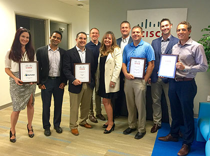 Pictured here at Cisco Awards Breakfast in Albuquerque from left to right: Patrice Vigil, Aman Arora, Vance Krier, Bart Goodman, Laura Tacker, Clayton smith (Cisco), Jeremy Stephens, Lee Loen (Cisco RM), and Colby Elliott.