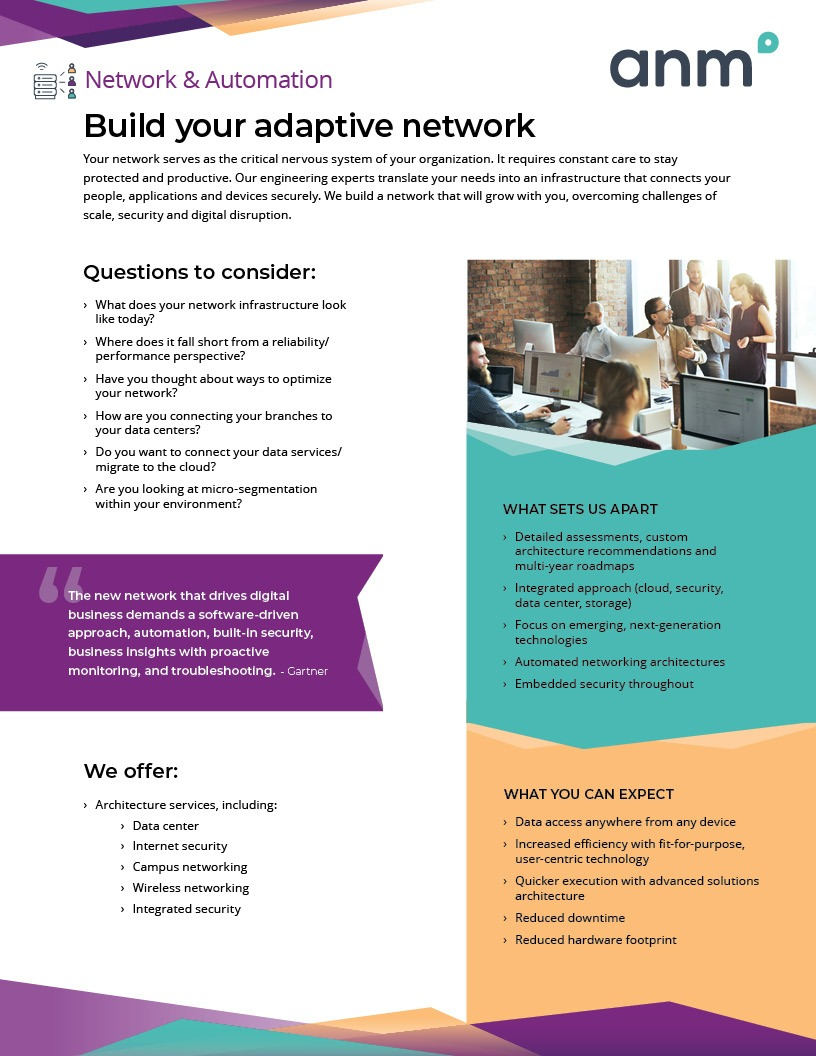 ANM Network and Automation data sheet first page