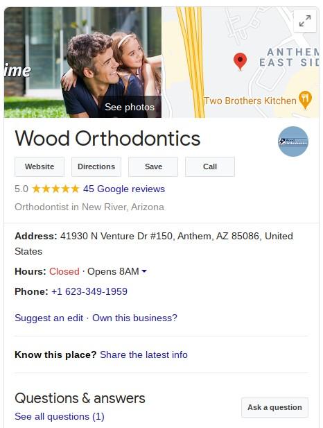Dentist Google My Business example