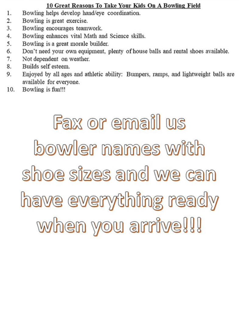 Bowling Field Trip Reasons