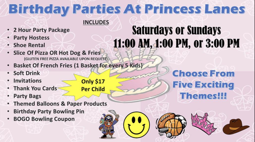 Themed Birthday Parties at Princess Lanes Bowling Center