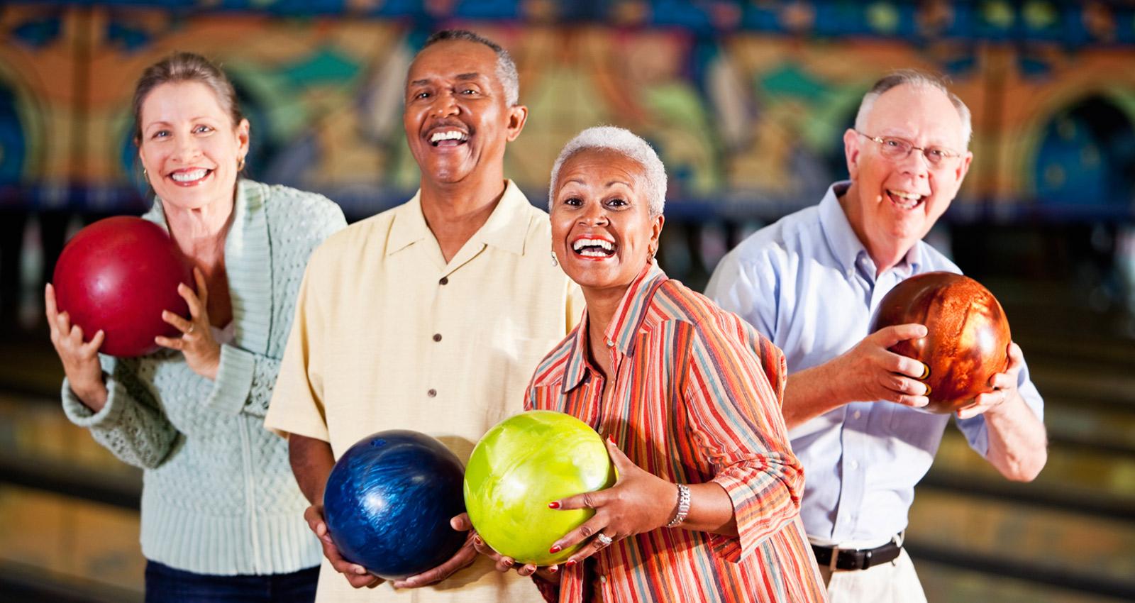 Older Couples Bowling at Princess Lanes in Caste Village