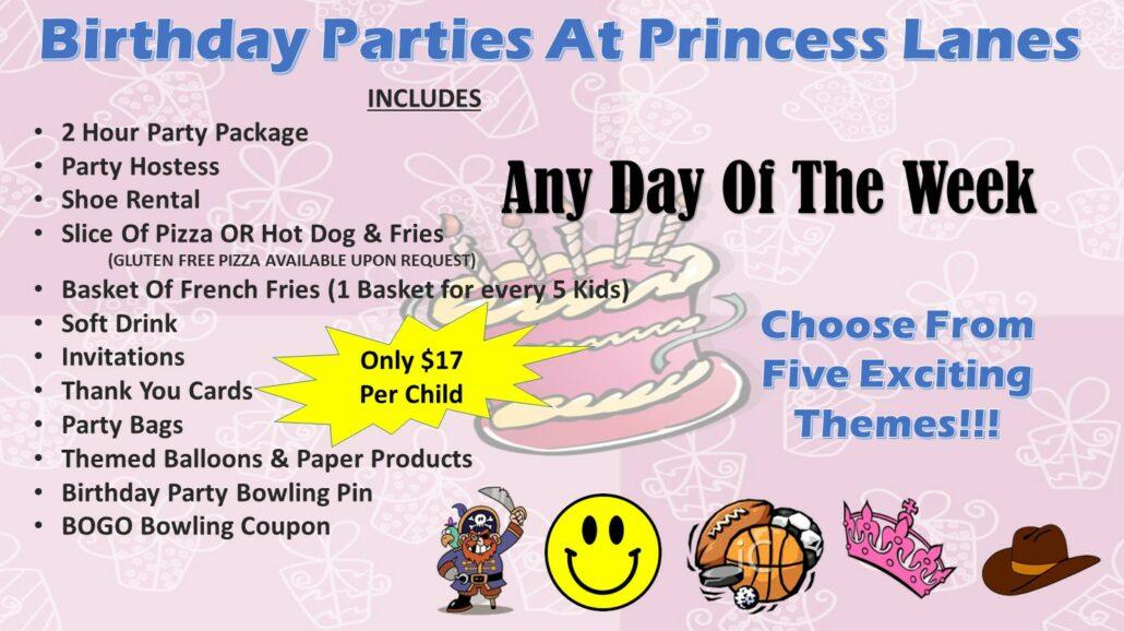 Birthday Parties at Princess Lanes