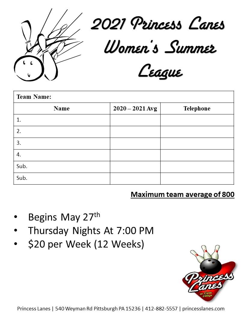 2021 Princess Lanes Women's Summer League