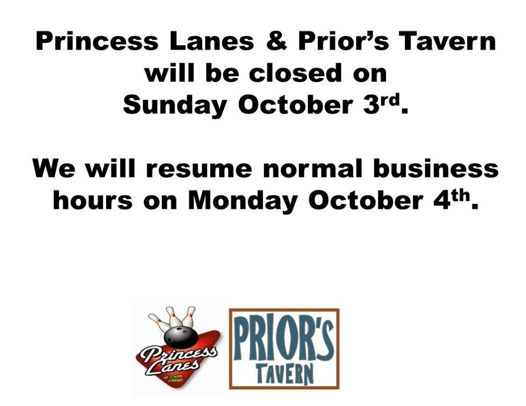 Closed October 3rd