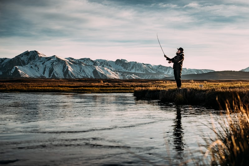 Nick Adams (not really) fishing in an unknown river.