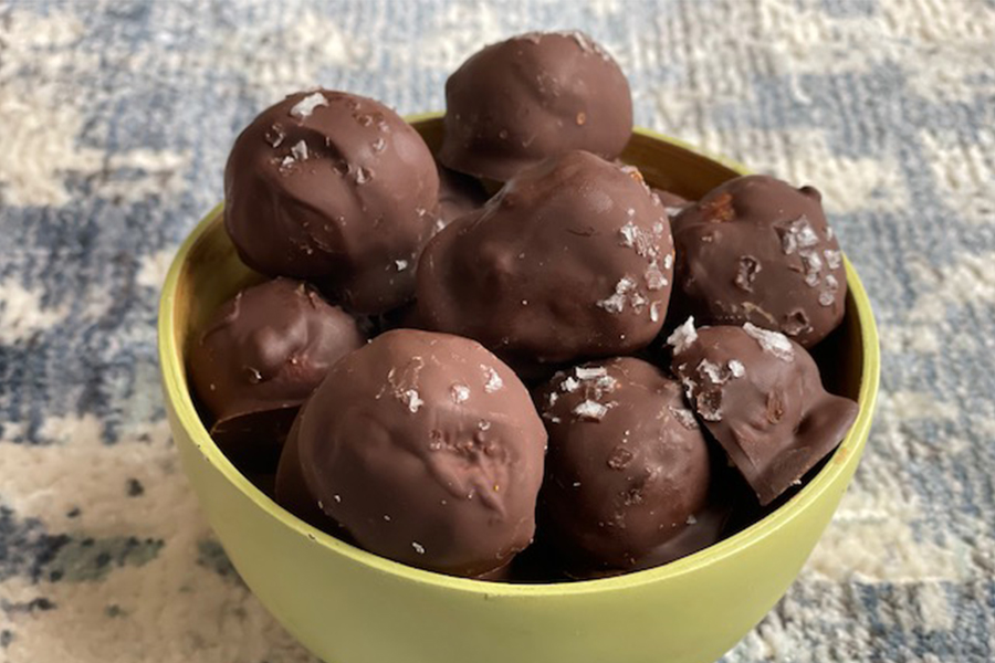 No-Bake Peanut Butter, Cinnamon, and Chocolate Truffles in a bowl