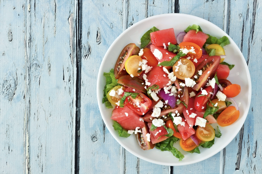 Bowl of Tomato, Watermelon, and Cucumber Salad