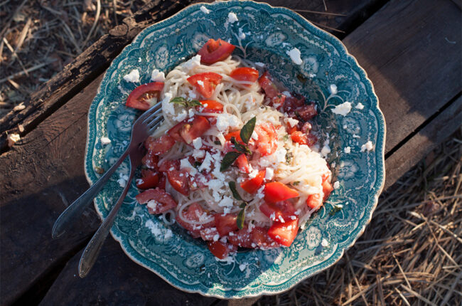 Chilled Spaghetti with Sweet Tomatoes, Basil and Feta