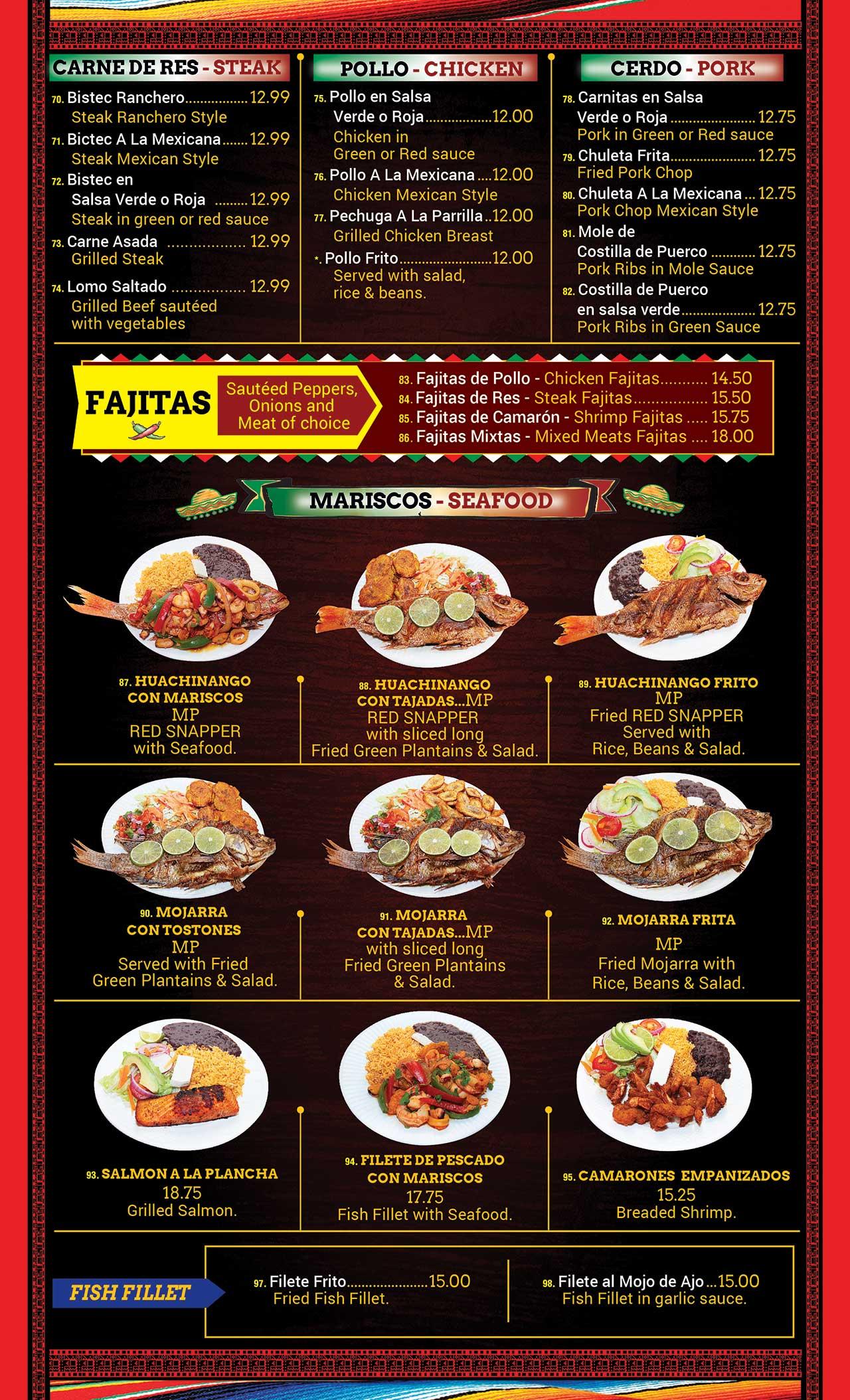 Las Piñatas Menu Page 5
