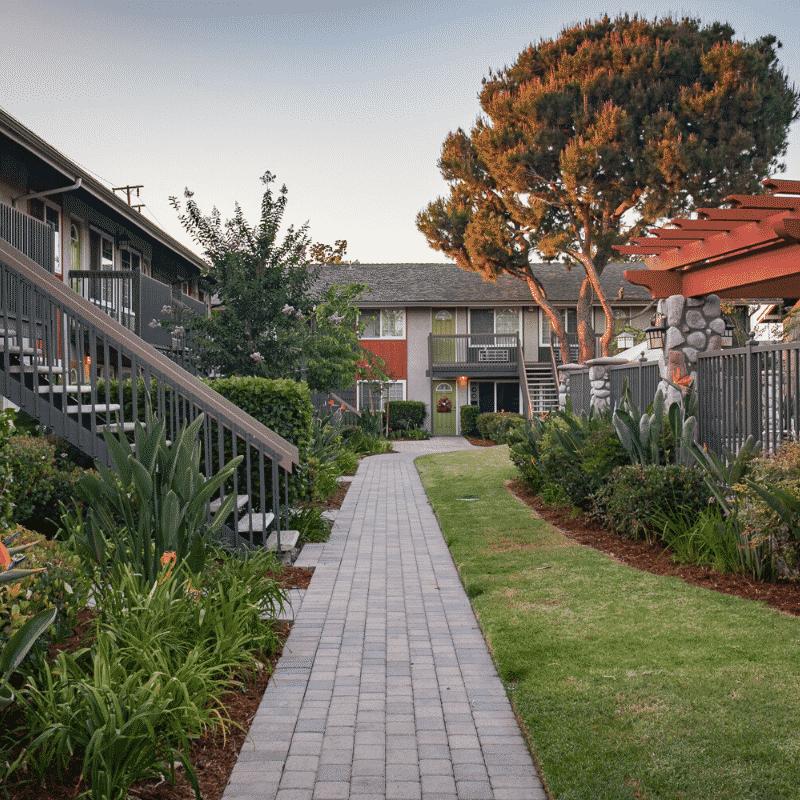 Paved apartment community walkway