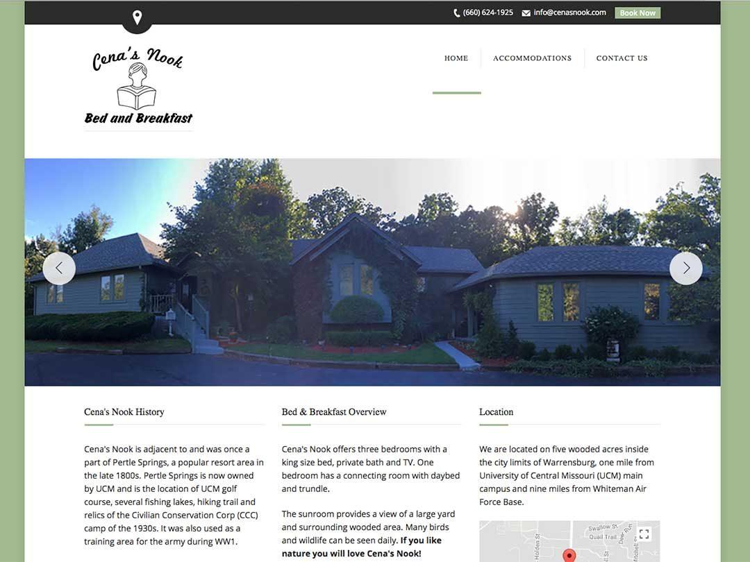 Cenas Nook Bed and Breakfast website