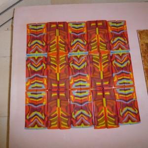 Figure 5...Pattern Bars arranged on kiln shelf.