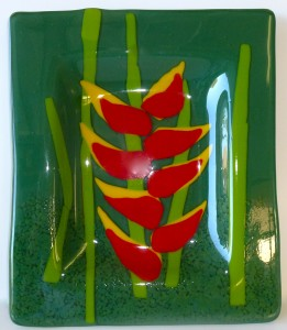 Figure 3...Heliconia Platter from Figure 1 fully fused and slumped into shape.