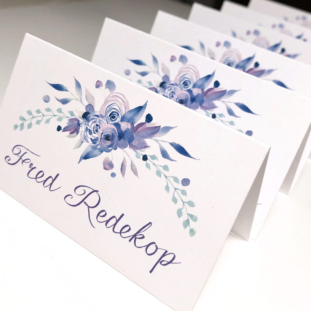Purple flower name cards