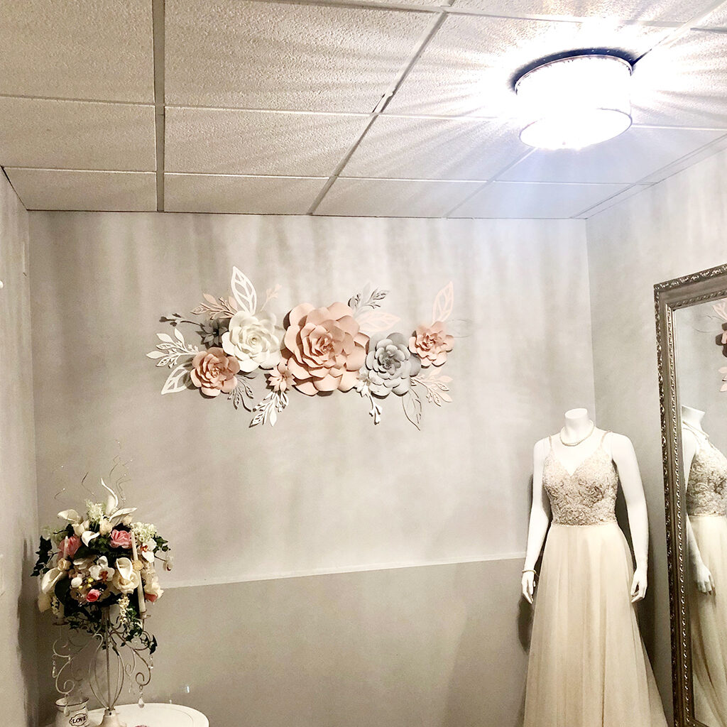 blush bridal paper flower wall