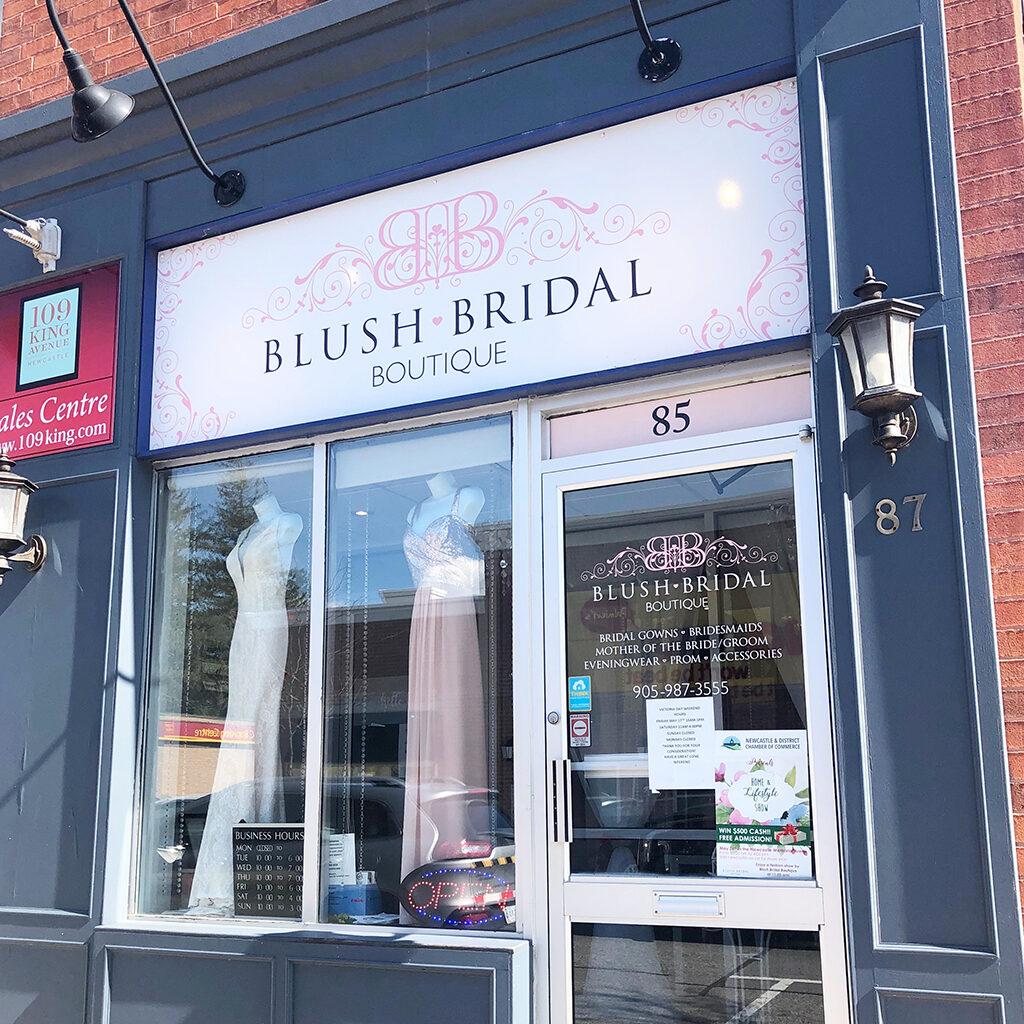 blush bridal storefront signage