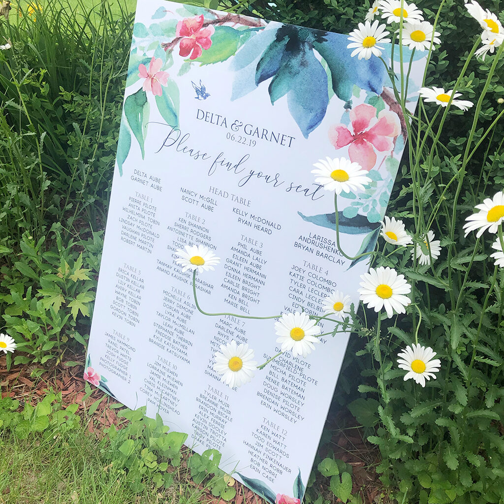 watercolour flowers seating chart