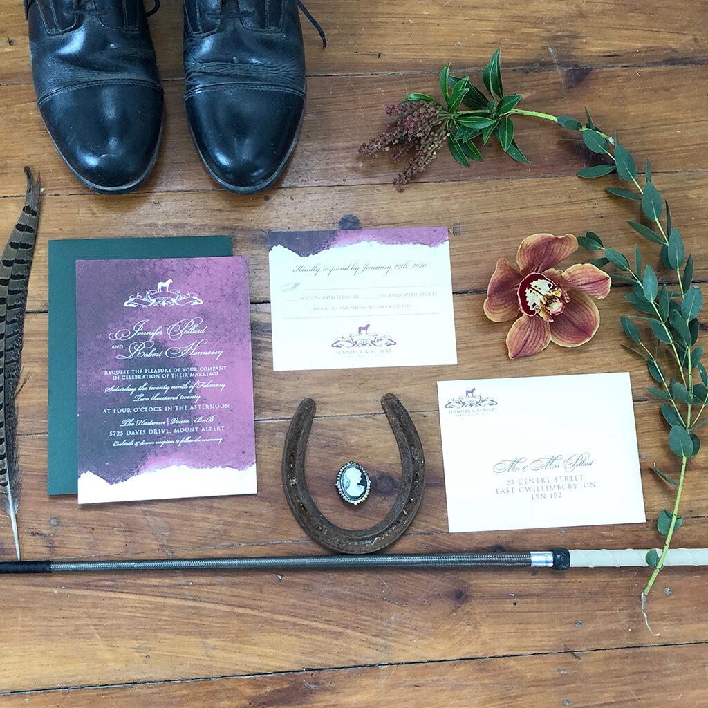 burgundy wash wedding invitation