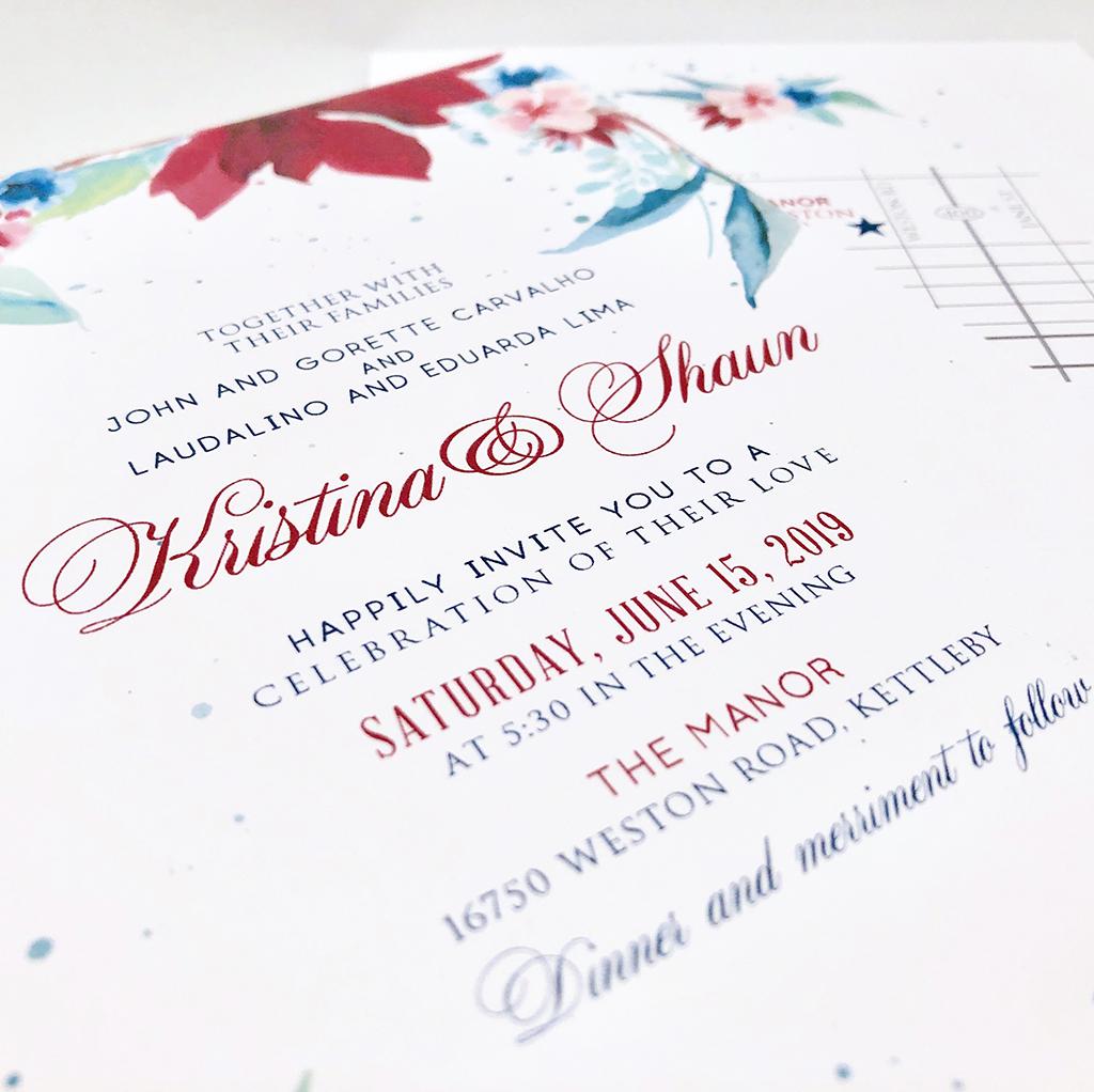 burgundy flowers wedding invitation