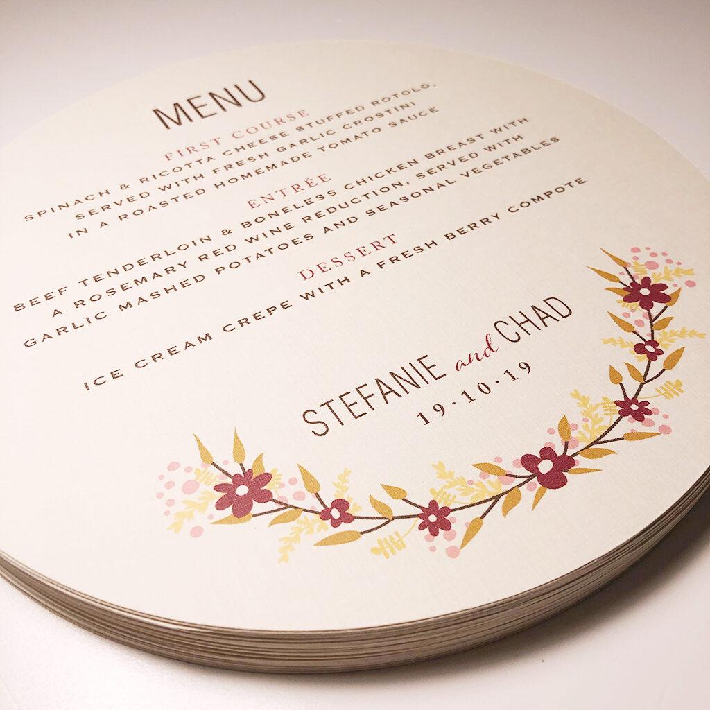Round wedding menu