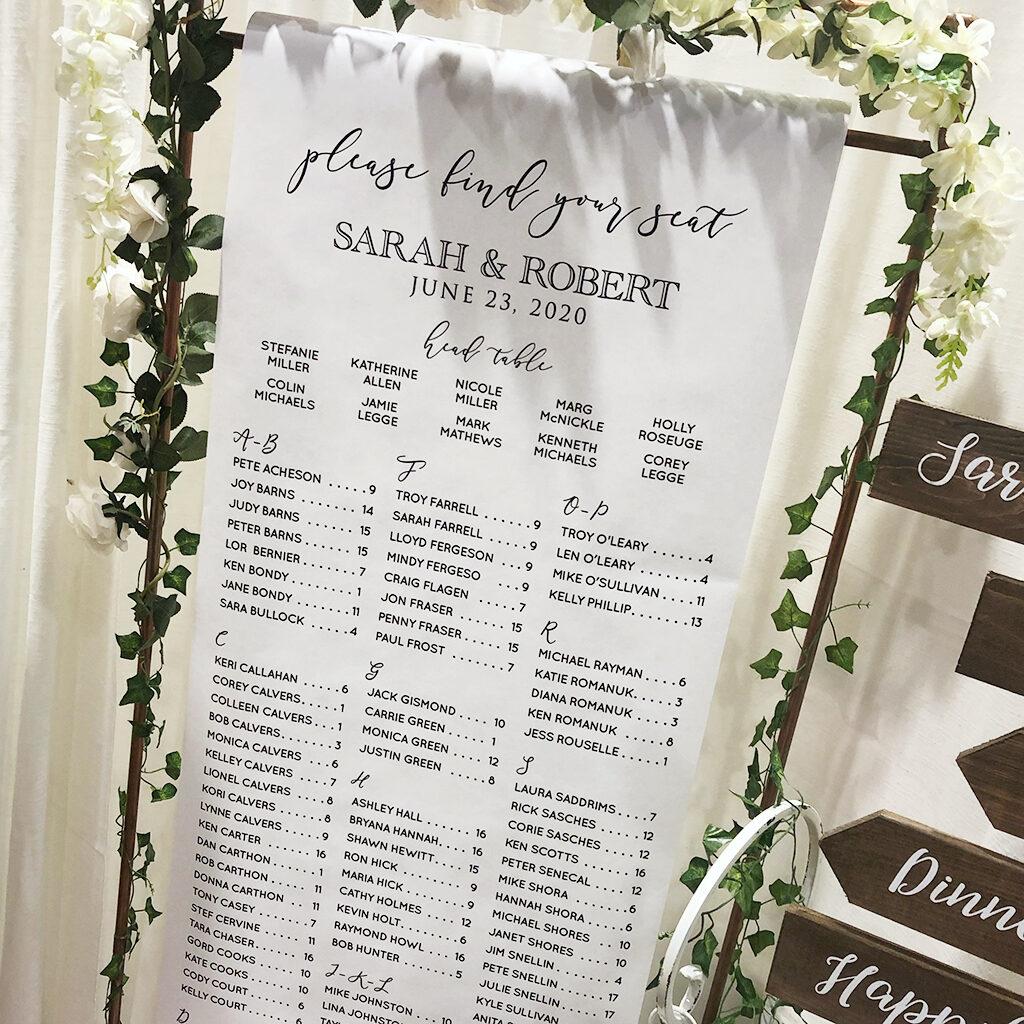 Wedding seating scroll sign