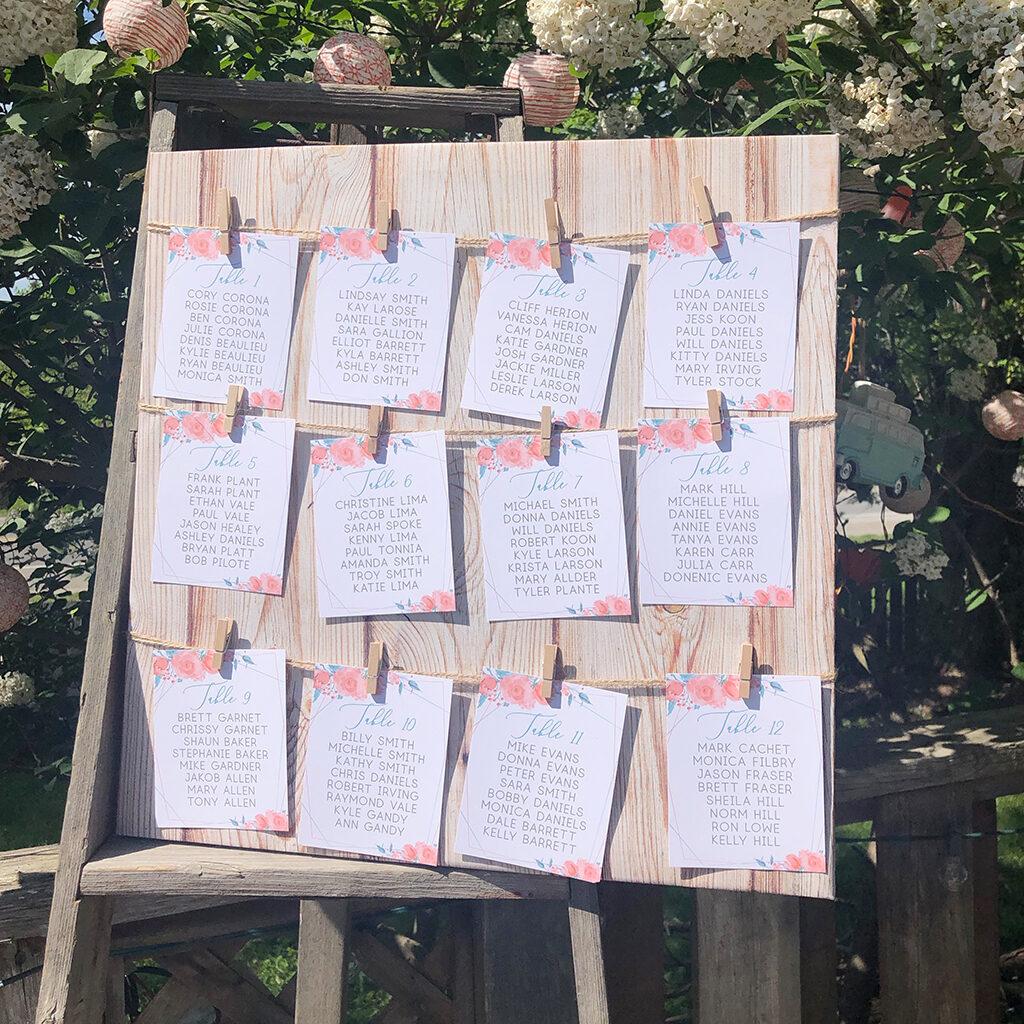 Hanging wedding seating cards