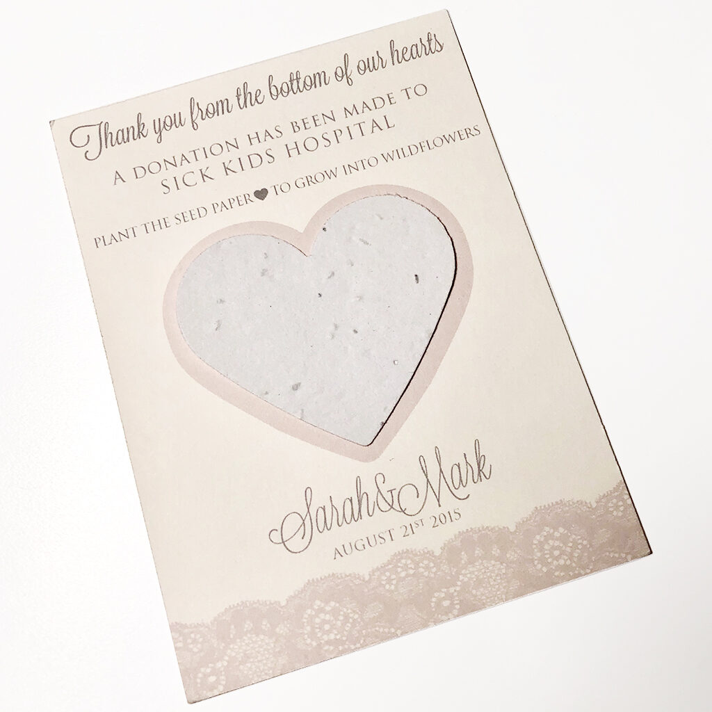 Bottom of our hearts seed favour card