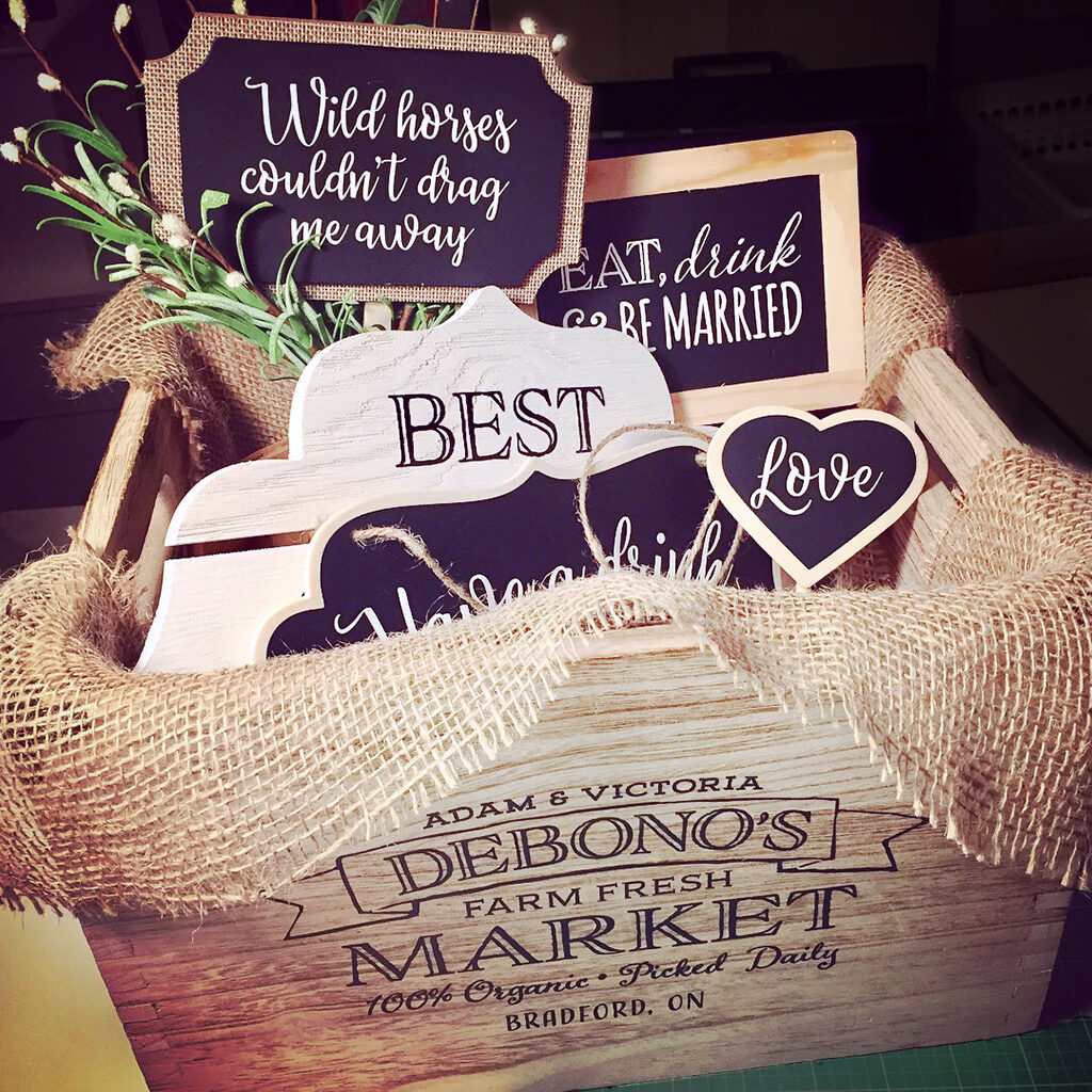 rustic wood crate and signs