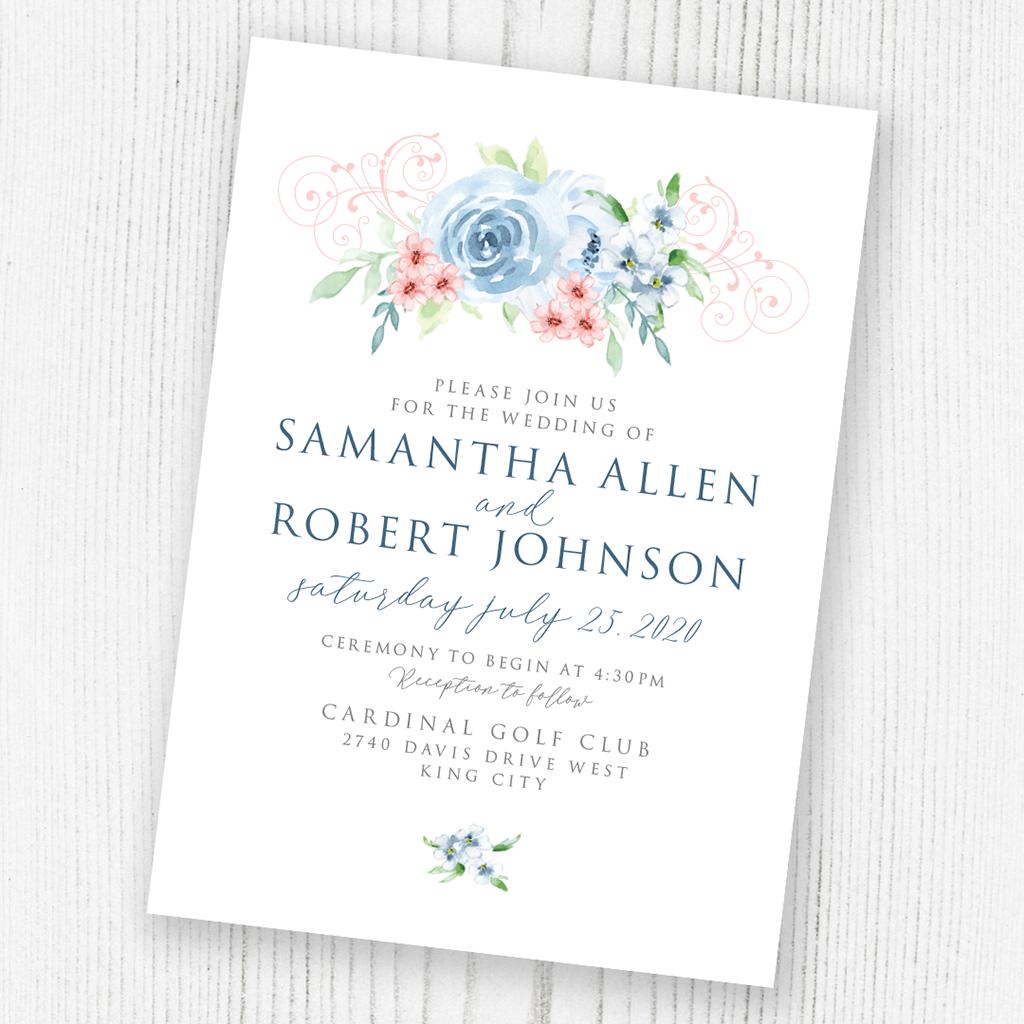 Watercolour flowers invitation